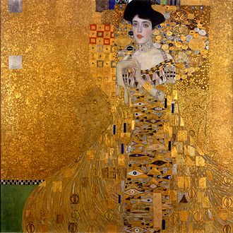 Klimt, Women in Gold, Portrait of Adele Bloch-Bauer I, Gold leaf, gliding